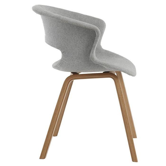 JOAK | Silla de madera de fresno natural y tapizado color gris (61,5 x 56,5 x 76,9 cm)