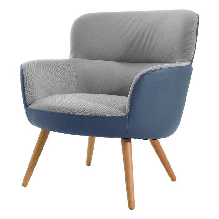 KAI | Sillón tapizado bicolor azul/gris (77 x 73,4 x 81,4 cm)