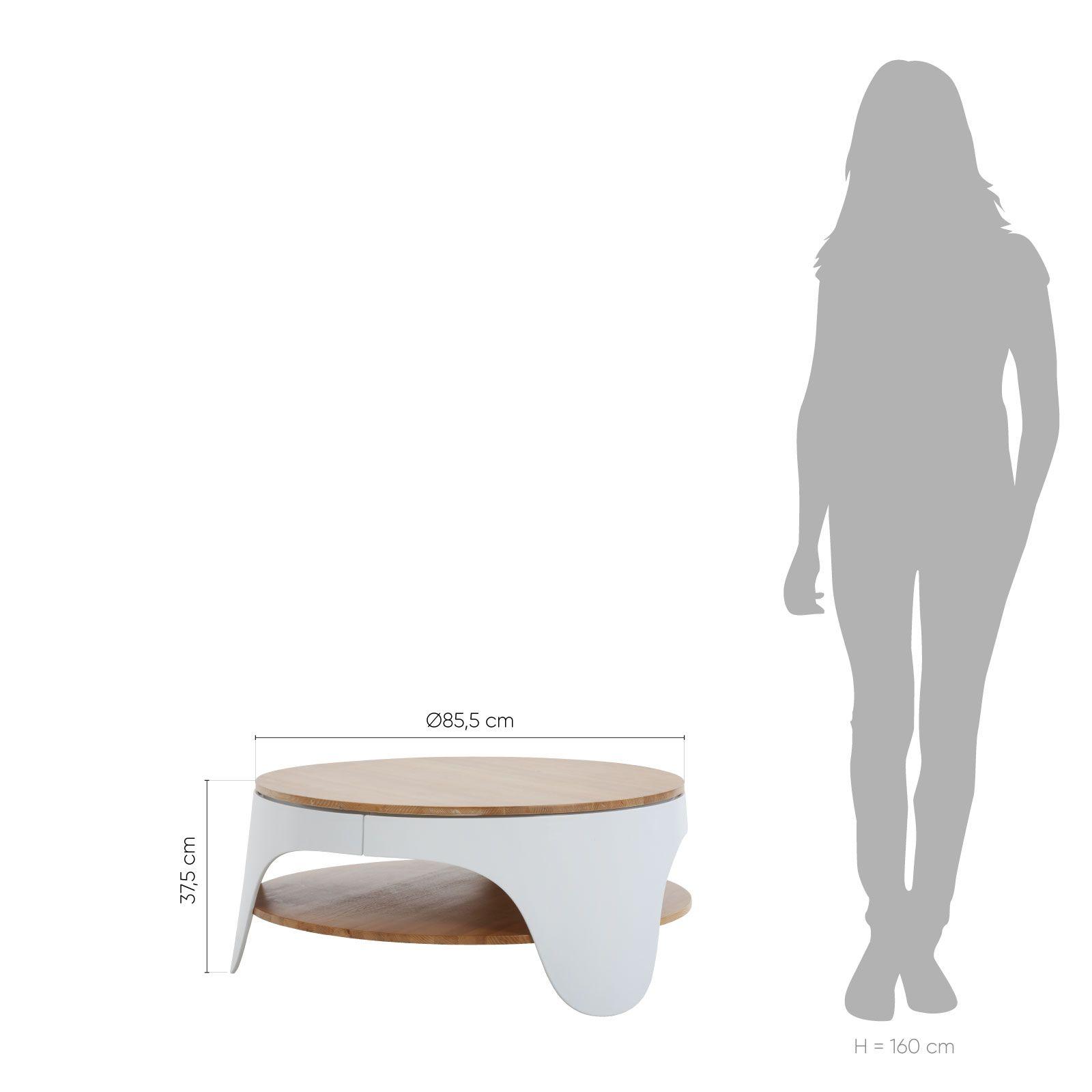 YERA | Mesa redonda de centro con dos alturas (Ø86,5 x 37,5 cm)