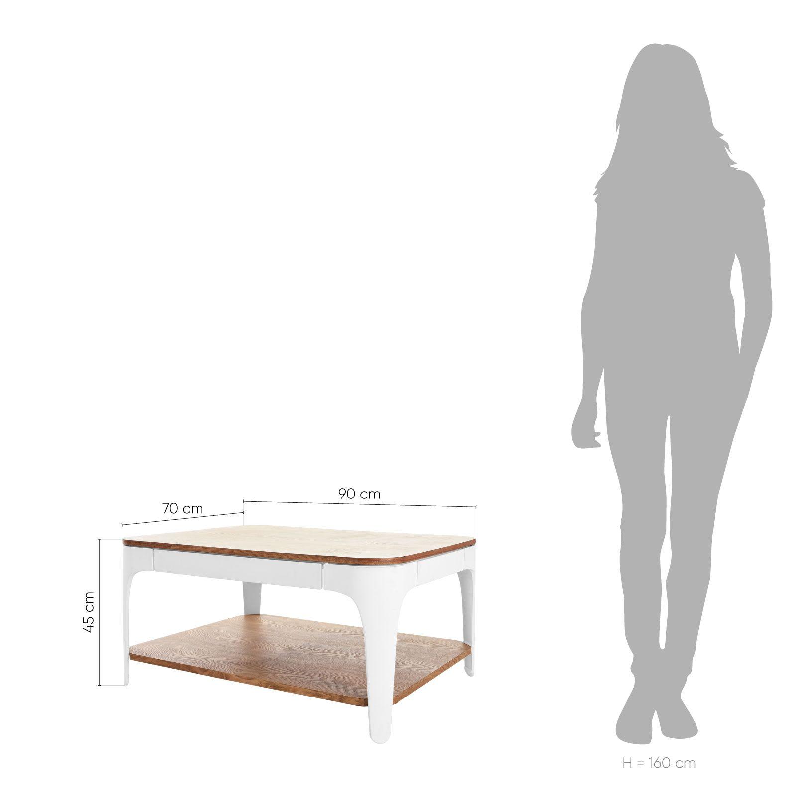 YERA | Mesa rectangular de centro con dos alturas (90 x 70 x 45 cm)
