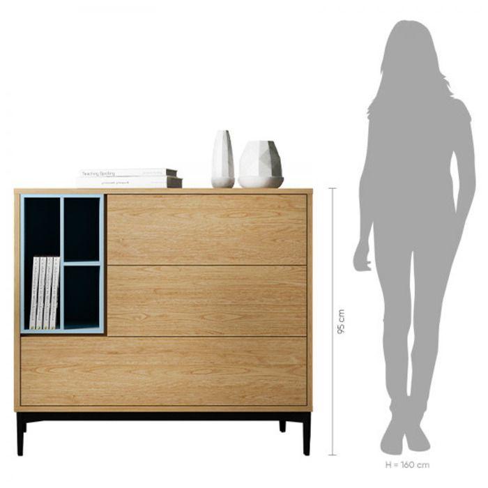 ONNIE Blue | Mueble aparador (103,5 x 40 x 95 cm)