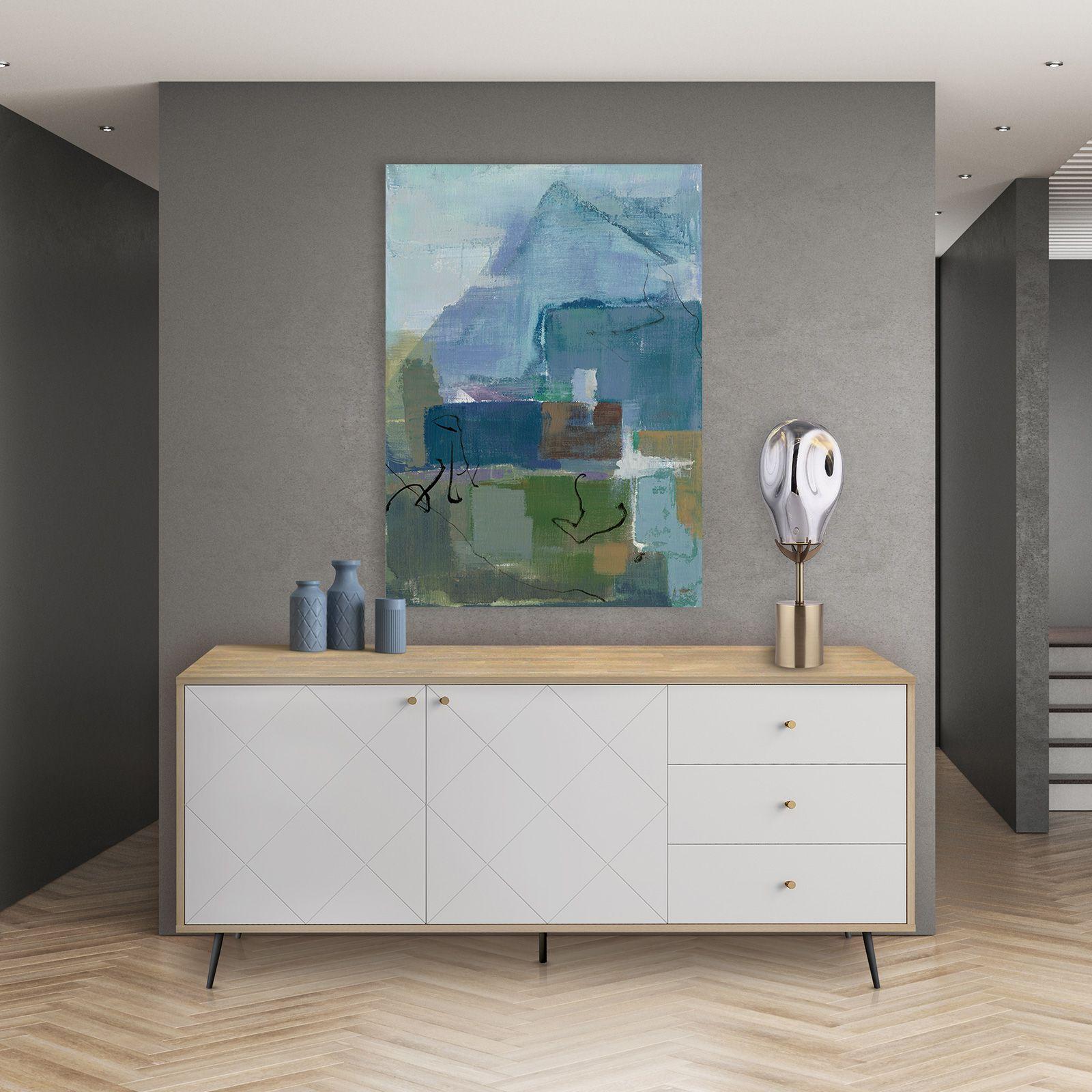 UKKO White | Mueble aparador (176 x 40 x 76,6 cm)