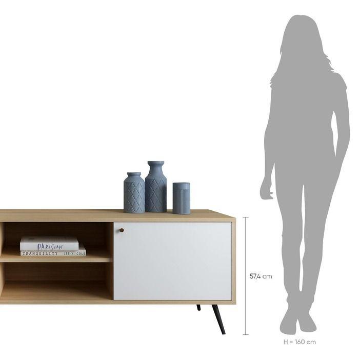 UKKO White | Mueble para TV (176 x 40 x 57,5 cm)
