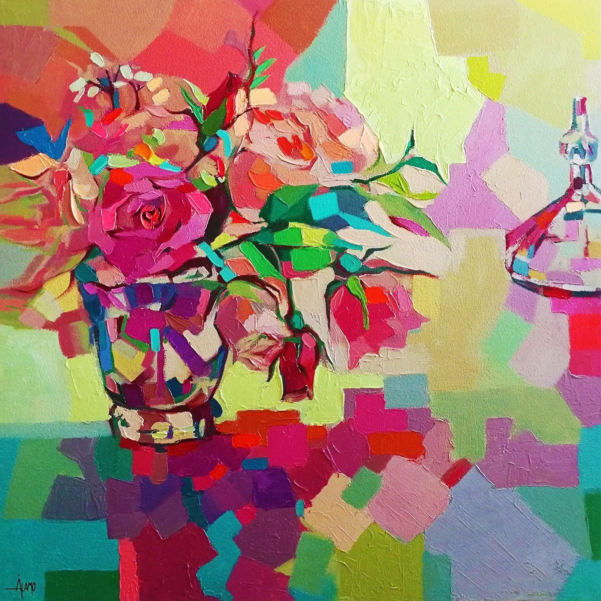 Serie OBJETOS | Bodegón con flores (100 x 100 cm )
