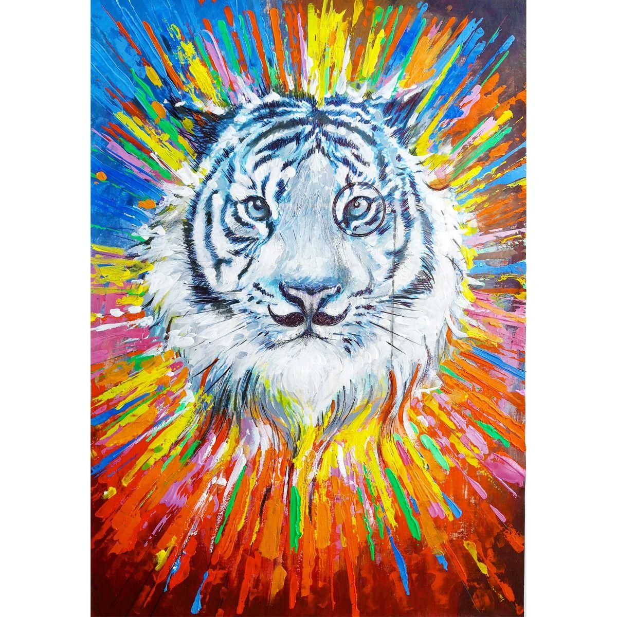 Serie ANIMALES | Cuadro abstracto tigre (140 x 200 cm)