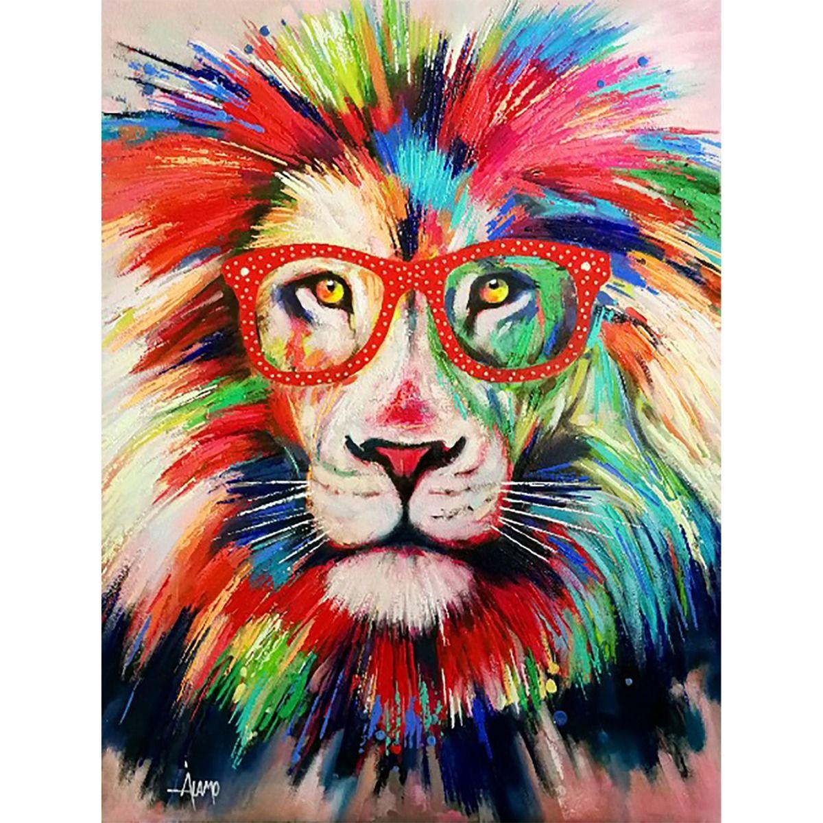 Serie ANIMALES | Cuadro abstracto león con gafas rojas (200 x 140 cm)