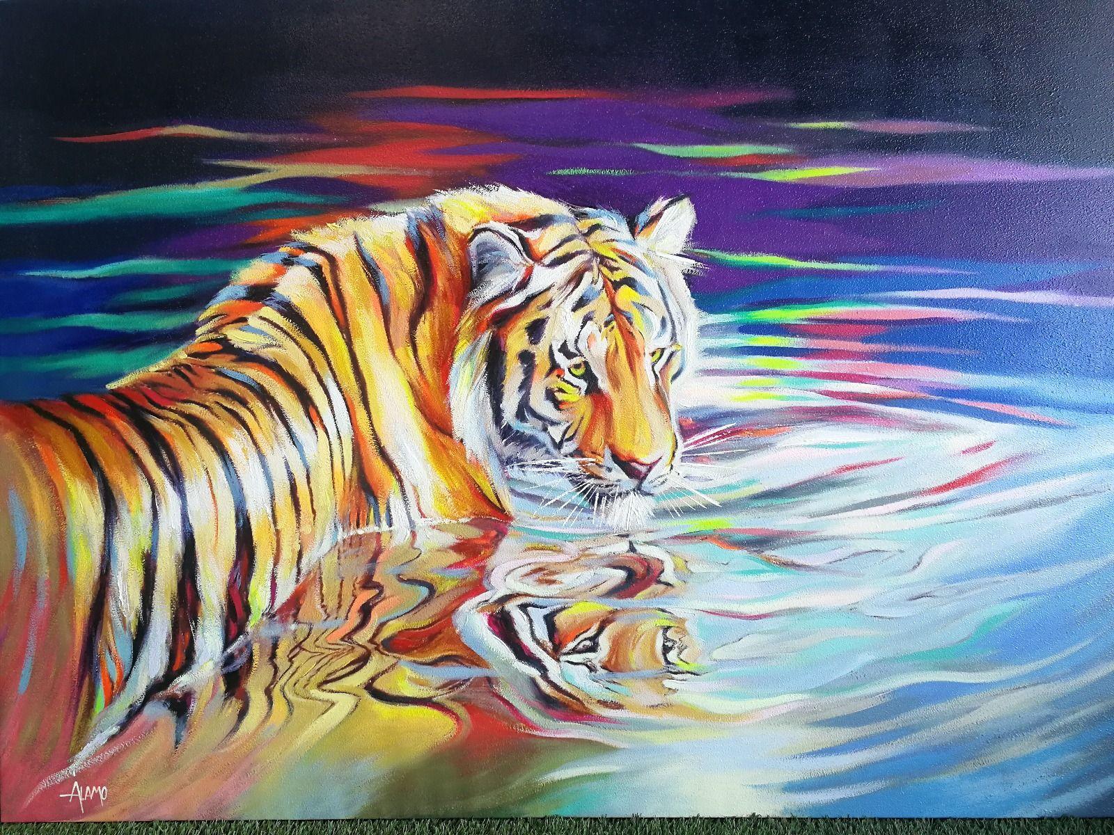 Serie ANIMALES | Cuadro reflejo del tigre (140 x 100 cm)