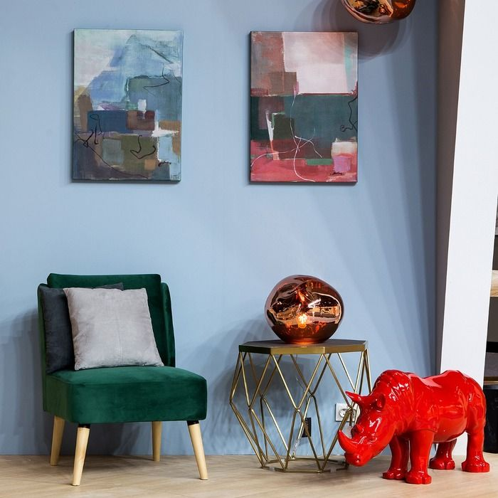 Fauteuil tapissé vert (61 x 75 x 82 cm) | Série Dobrant