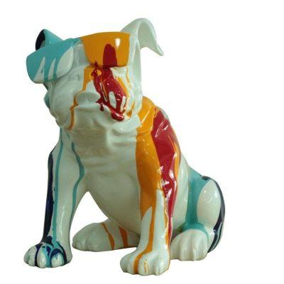 Serie ANIMALES S | Bulldog multicolor sentado