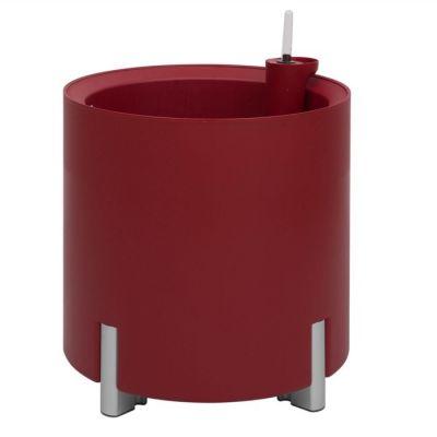 Jardinera hidrante modular redonda roja patas plateadas | Mediterráneo