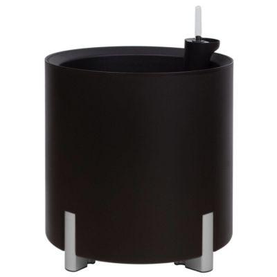 Jardinera hidrante modular redonda negra patas plateadas | Mediterráneo