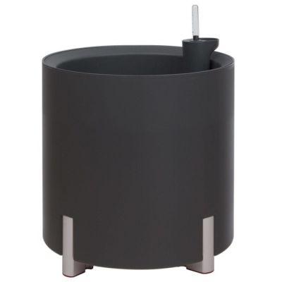 Jardinera hidrante modular redonda antracita patas plateadas | Mediterráneo