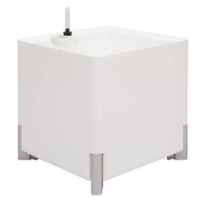Jardinera hidrante modular cuadrada blanca patas plateadas | Mediterráneo