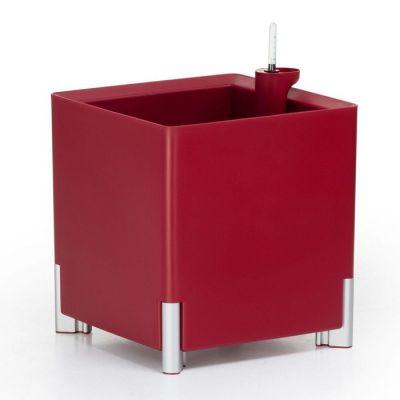 Jardinera hidrante modular cuadrada roja patas plateadas | Mediterráneo