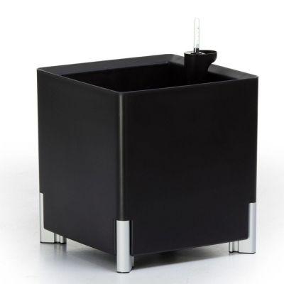 Jardinera hidrante modular cuadrada negra patas plateadas | Mediterráneo