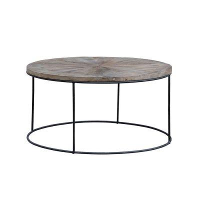 NEGE | Mesa de centro de madera de olmo reciclado y hierro (90 × 90 × 45)