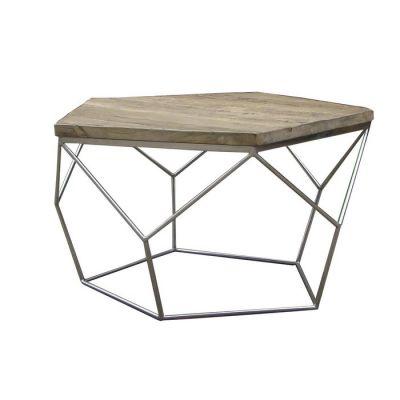 GYPE | Mesa de centro de madera de olmo reciclado y acero (80 x 80 x 42)