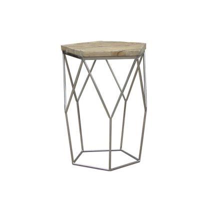 Table d'appoint en bois d'orme naturel recyclé et acier (50 x 50 x 59) | Série Gype