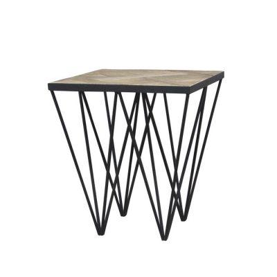 Table d'appoint en bois d'orme naturel recyclé et fer (50 x 50 x 55) | Série Sax