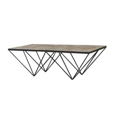 SAX | Mesa de centro de madera de olmo reciclado y hierro (130 x 70 x 42)