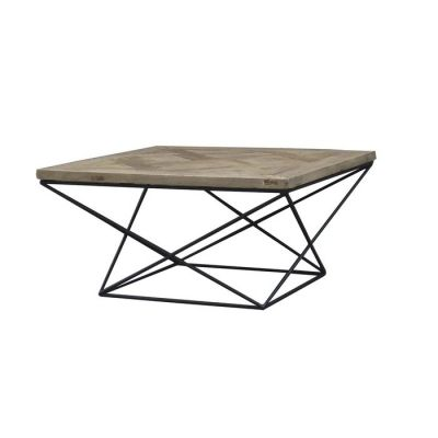 Table basse en bois d'orme recyclé et fer (80 x 80 x 42) | Série Sax