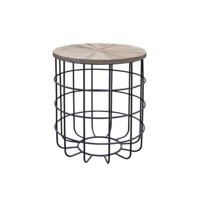 Table d'appoint en bois d'orme naturel recyclé et fer (50 x 50 x 60) | Série Sax