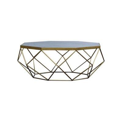 Table basse en bois effet ciment et acier  (100 x 100 x 40) | Série Subor
