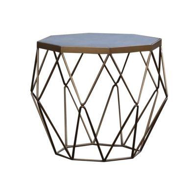 SUBOR | Mesa auxiliar de madera efecto cemento y acero (60 x 60 x 55)