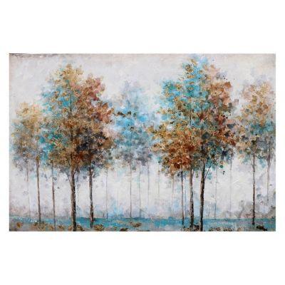 Tableau arbres automne bleu (120 x 80 cm) | Série Nature
