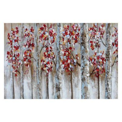 Tableau arbres automne en rouge (120 x 80 cm) | Série Nature