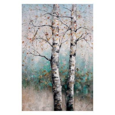 Serie NATURALEZA | Cuadro árbol otoño fondo verde (80 x 120 cm)