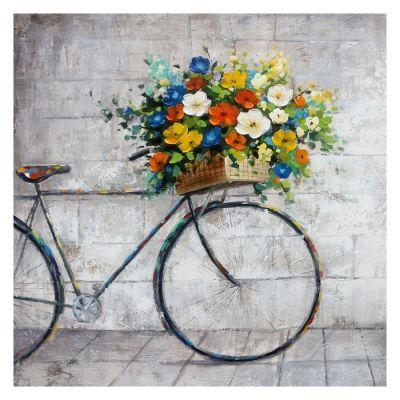 Serie OBJETOS | Cuadro bicicleta con flores (100 x 100 cm)
