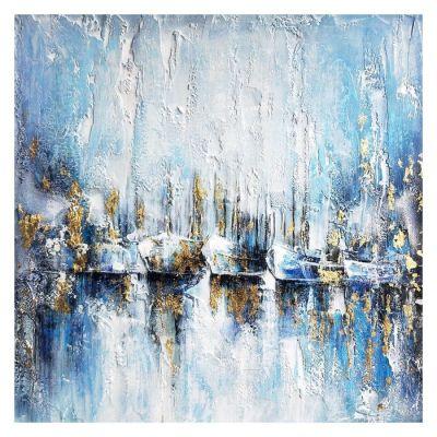 Tableau barques fond bleu (100 x 100 cm) | Série Nature
