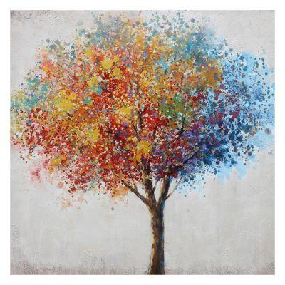 Tableau arbres avec touches bleues (100 x 100 cm) | Série Nature