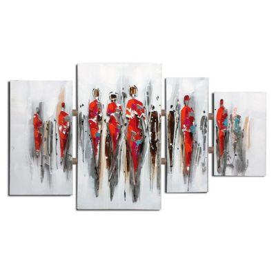 Composition tableau abstrait personnages (124 x 70 cm) | Série Abstrait