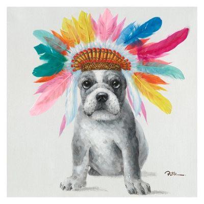 Serie ANIMALES | Cuadro perro plumas (60 x 60 cm)