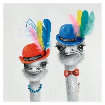 Serie ANIMALES | Cuadro avestruz con gorro y plumas (60 x 60 cm)