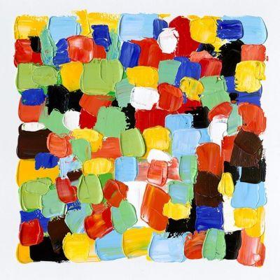 Tableau abstrait couleurs carreaux I (100 x 100 cm) | Série Abstrait