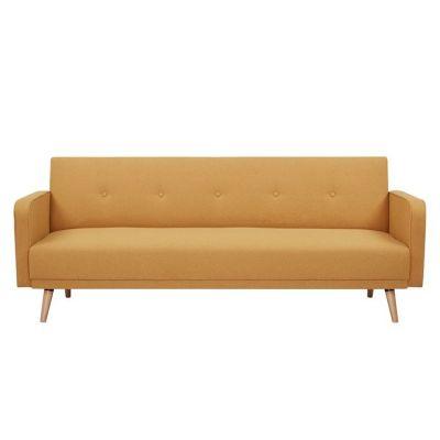 Canapé-lit avec accoudoirs revêtement moutarde (208 x 86 x 81cm) | Série Hamilgon