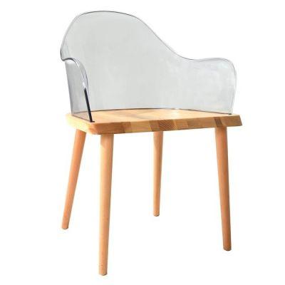 Chaise avec accoudoirs. Bois de frêne et polycarbonate transparent (57 x 82 x 40 cm) | Série Beksand