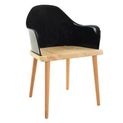 Chaise avec accoudoirs. Bois de frêne et polycarbonate noir (57 x 82 x 40 cm) | Série Beksand Black