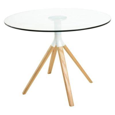 BE2 | Mesa de comedor redonda. Madera de haya y tapa de cristal (100 x 75 cm)