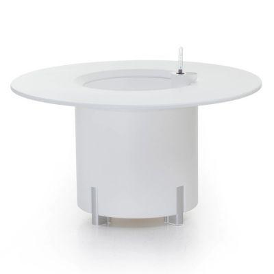 KIT Mediterráneo 45RB: Jardinière modulaire ronde blanche 45h pieds aluminium + table ronde blanche + seau à glace rond blanc