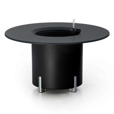 KIT Mediterráneo 45RN: Jardinière modulaire ronde noire 45h pieds aluminium + table ronde noire + seau à glace rond noir