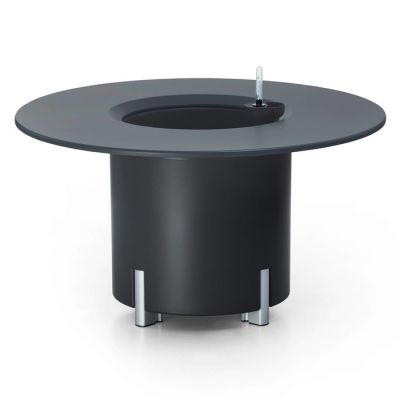KIT Mediterráneo 45RA: Jardinière modulaire ronde anthracite 45h pieds aluminium + table ronde anthracite + seau à glace rond blanc