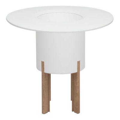 KIT Mediterráneo 75RB | Jardinera modular redonda blanca 75h patas aluminio color madera + mesa redonda blanca + cubitera redonda blanca