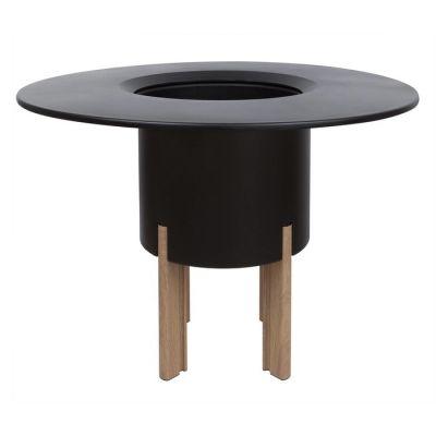 KIT Mediterráneo 75RN: Jardinière modulaire ronde noire 75h pieds aluminium coleur bois + table ronde noire + seau à glace rond noir