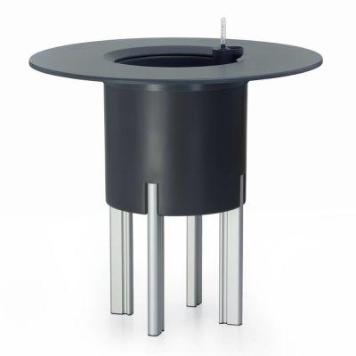 KIT Mediterráneo 75RA: Jardinière modulaire ronde anthracite 75h pieds aluminium + table ronde anthracite + seau à glace rond blanc