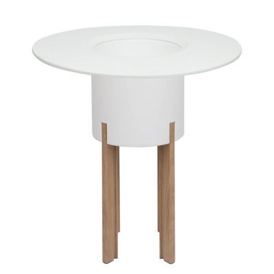 KIT Mediterráneo 95RB | Jardinera modular redonda blanca 95h patas aluminio color madera + mesa redonda blanca + cubitera redonda blanca