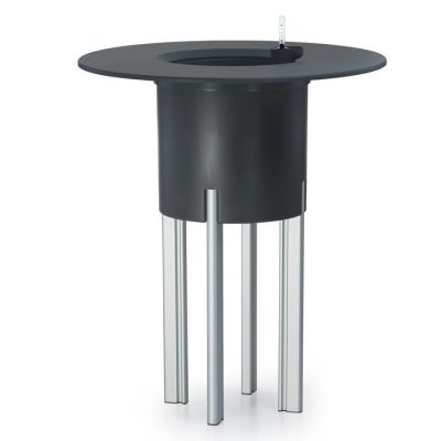 KIT Mediterráneo 95RA: Jardinière modulaire ronde anthracite 95 h pieds aluminium + table ronde anthracite + seau à glace rond blanc